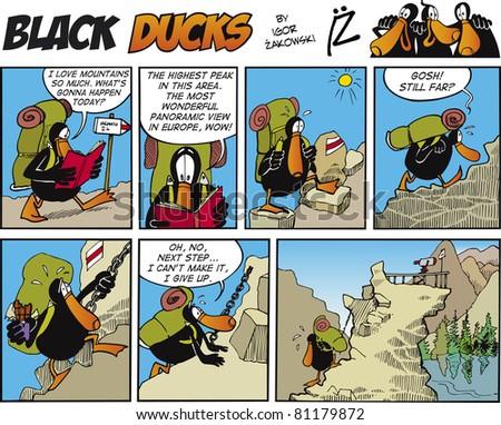 Black Ducks Comic Story episode 70 - stock vector