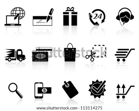 black e-commerce and shopping icon - stock vector