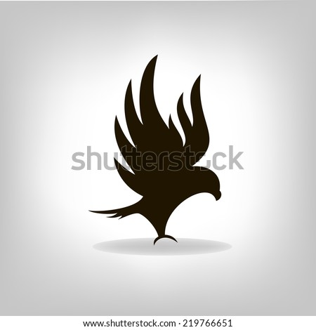 Black eagle isolated with outstretched wings, logo - stock vector