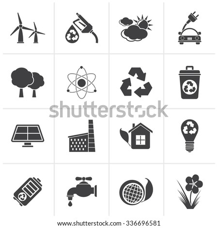 Black Ecology, environment and recycling icons - vector icon set - stock vector