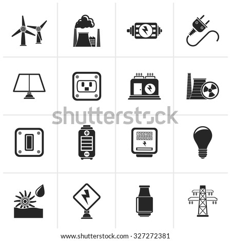 Black electricity, power and energy icons - vector icon set - stock vector