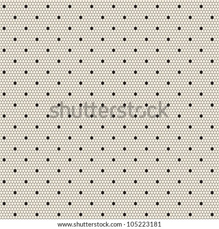 Black elegant dotted lace seamless vector pattern - stock vector