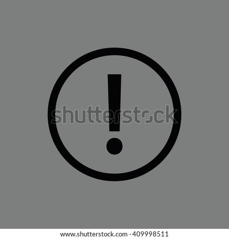 Black exclamation mark vector sign. Gray background - stock vector