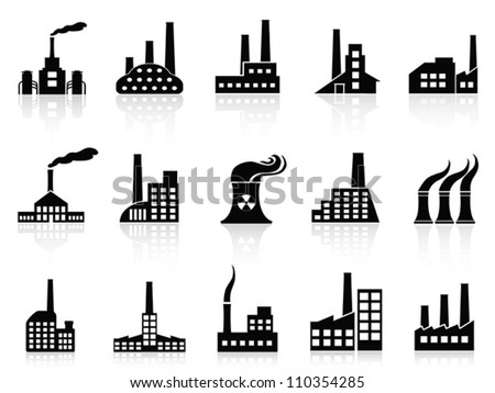black factory icons set - stock vector