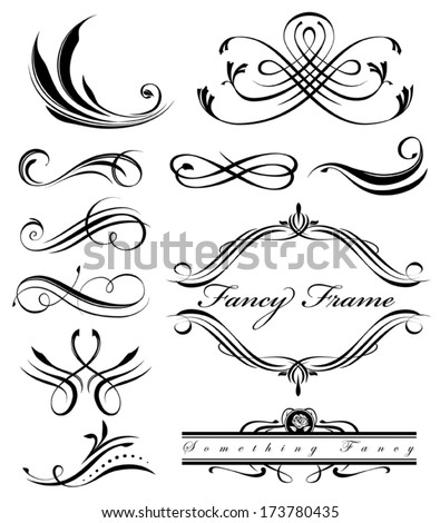 Black fancy swirl lines - stock vector