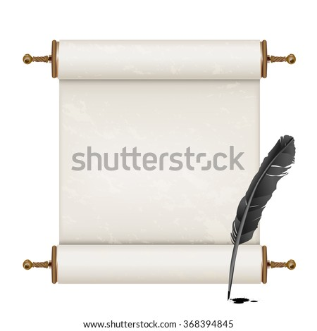 black feather and ancient scroll on white - stock vector