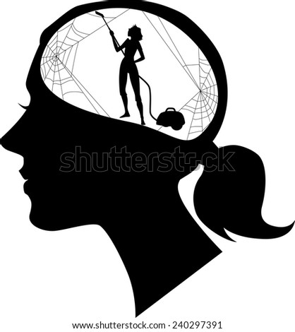 Black female profile with a silhouette of woman, cleaning cobweb, vector illustration - stock vector