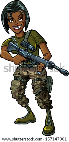 Black female soldier with assault rifle. Isolated on white - stock vector