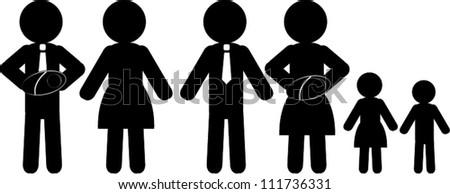 Black figure icon family - stock vector