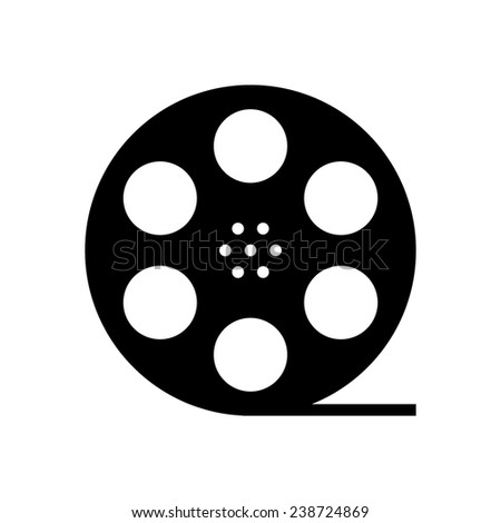 black film reel silhouette. concept of filmmaking, documentary, photograph, cinematograph and 35 mm film. isolated on white background. trendy modern logo design vector illustration - stock vector
