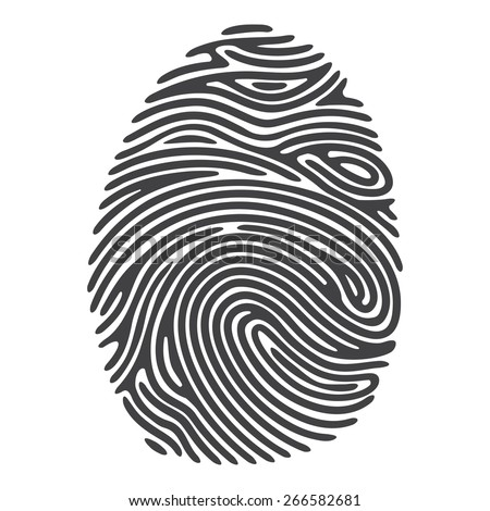 Black Finger Print. Vector fingerprint illustration, isolated on white - stock vector