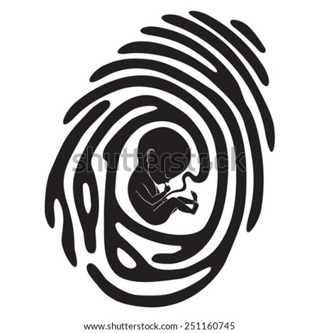 black finger print with fetus - stock vector