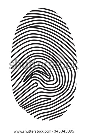 Black fingerprint on a white background. Vector illustration.