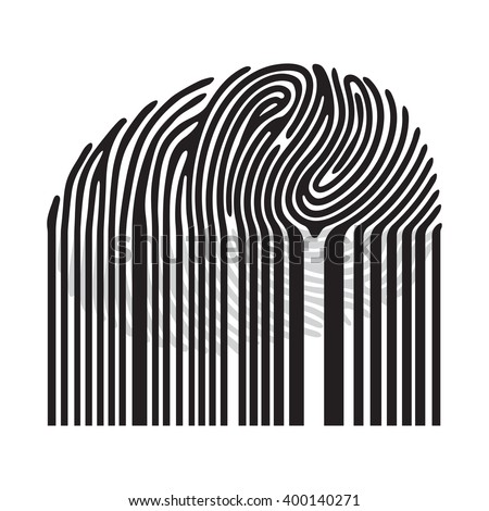 Black fingerprint with bar code.