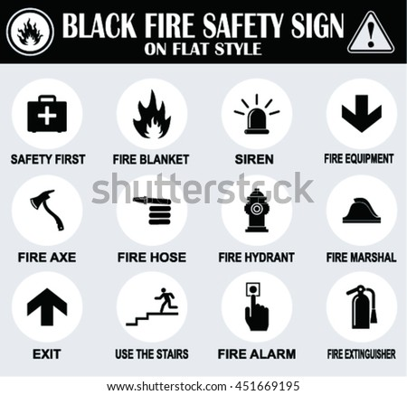 Black  fire safety signs on flat style