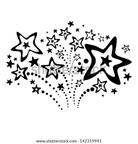 black fireworks isolated on white background. Vector illustration