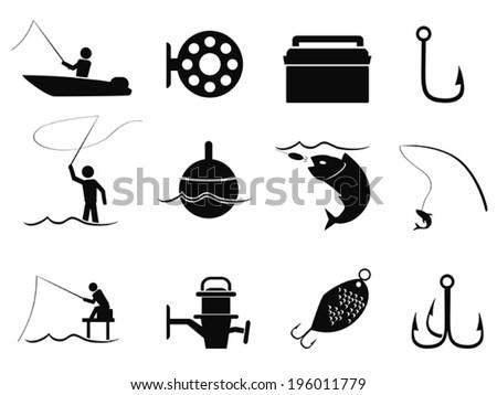 black fishing icons set - stock vector