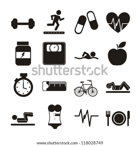 black fitness icons over white background. vector illustration - stock vector