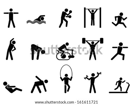 black fitness people icons set - stock vector