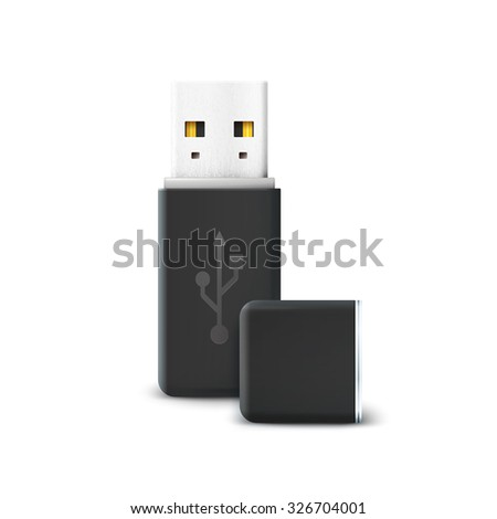 Black flash drive isolated on white. Usb and hardware, information and memory transfer, technology storage, electronic portable and connect. Vector illustration