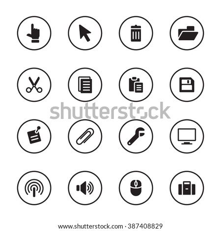 black flat computer and technology icon set with circle frame for web design, user interface (UI), infographic and mobile application (apps) - stock vector