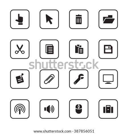 black flat computer and technology icon set with rounded rectangle frame for web design, user interface (UI), infographic and mobile application (apps) - stock vector