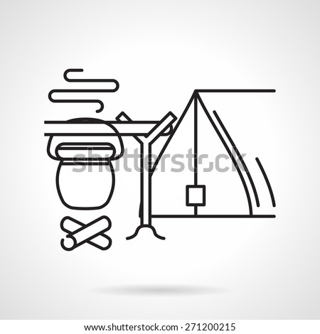 Black flat line vector icon for campsite with tent and campfire with hanging bowler on white background. - stock vector