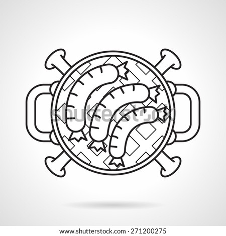 Black flat line vector icon for cooking sausages on barbecue grill a top view on white background. - stock vector