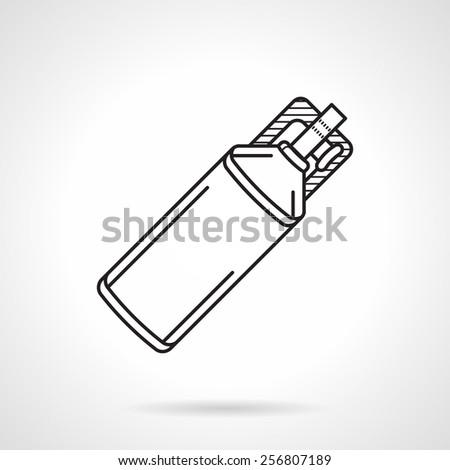 Black flat line vector icon for dioxide bottle for paintball marker on white background. - stock vector