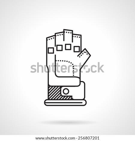 Black flat line vector icon for paintball glove on white background. - stock vector