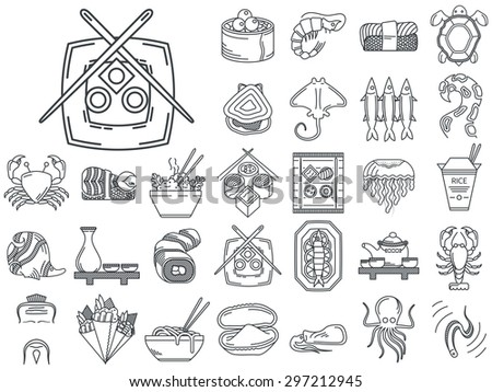 Black flat line vector icons set of Japanese seafood and traditional serving for restaurant menu on white background. - stock vector