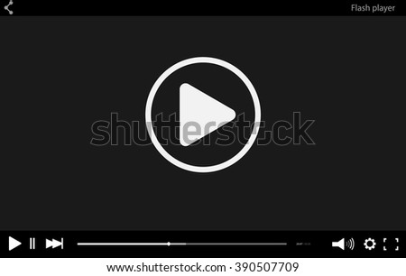 Black flat Video player bar template for your design. Trendy Minimal Flash interface in social style. Modern vector illustration for web site and app - stock vector