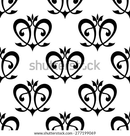 Black floral hearts seamless pattern for interior wallpaper or background design - stock vector