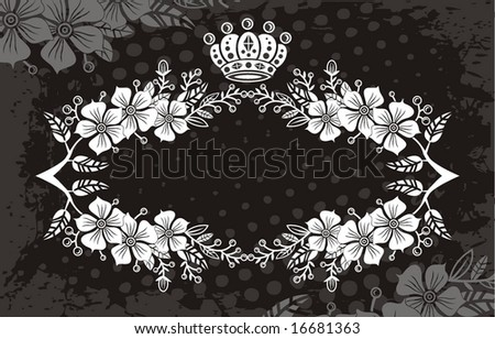 black floral label