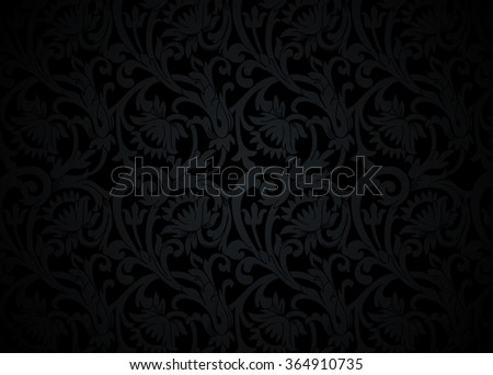 Black floral ornament with flowers and curls in a retro style - stock vector