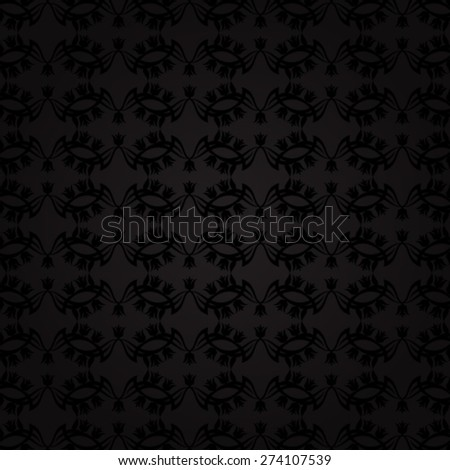 Black floral pattern on dark background - vector illustration.