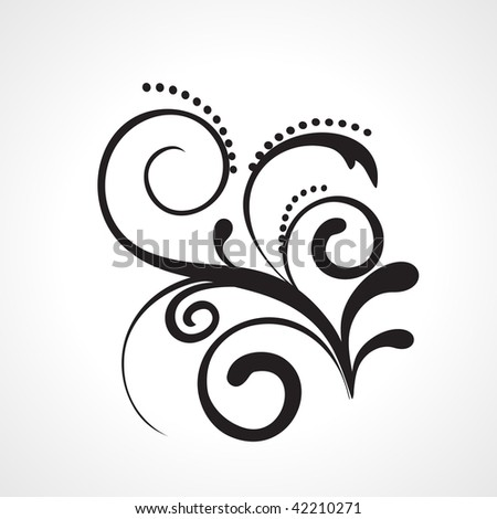 black floral pattern tattoo on white background - stock vector