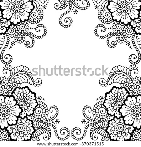 Black flower frame, lace ornament.  Love concept for Valentines Day or Wedding design. - stock vector