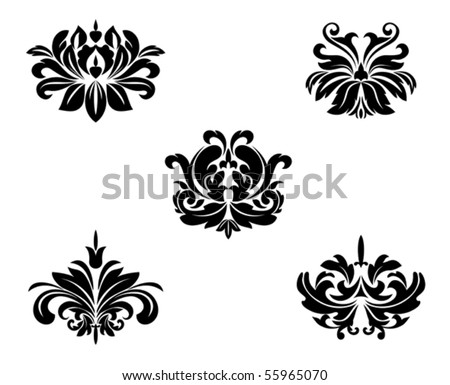 Black flower patterns. Jpeg version also available - stock vector