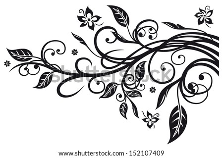 Black flowers and leaves, floral element - stock vector