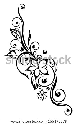 Black flowers illustration, tribal tattoo style. - stock vector