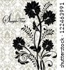 black flowers on gray damask background - stock vector