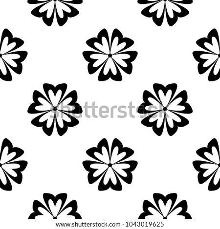 Black flowers on white background. Seamless pattern for textile and wallpapers