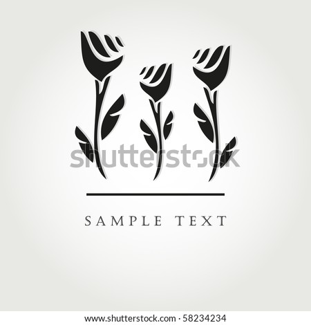 Black flowers. Vector illustration - stock vector