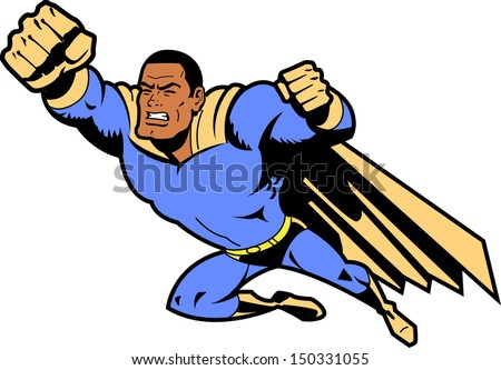 Black Flying Superhero With Clenched Fist - stock vector