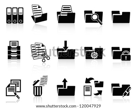 black folder icons set - stock vector