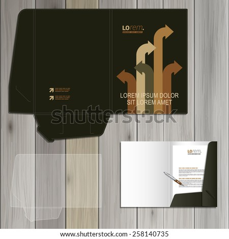 Black folder template design for corporate identity with arrows in different directions. Stationery set - stock vector