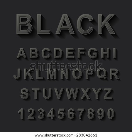 black font design set over black background  - stock vector