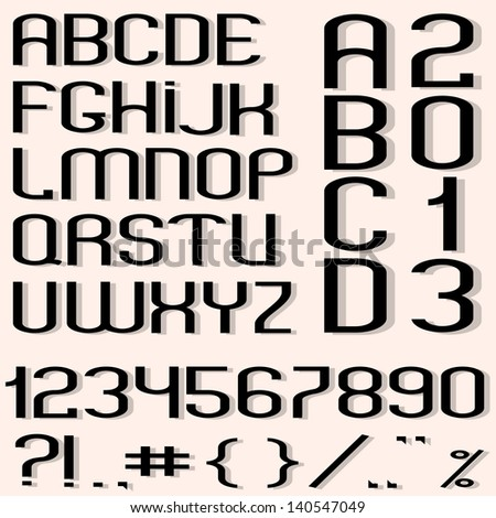 Black font, numbers and punctuation marks. Vector set