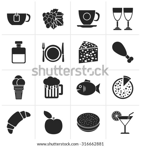 Black Food, Drink and beverage icons - vector icon set - stock vector